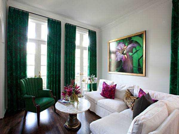 Зеленые шторы в интерьере различных ...